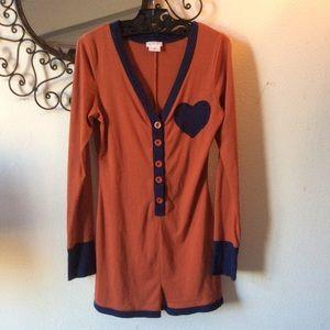 Cooperative Intimates & Sleepwear - Cooperative Orange Heart Short Romper Lounge PJs